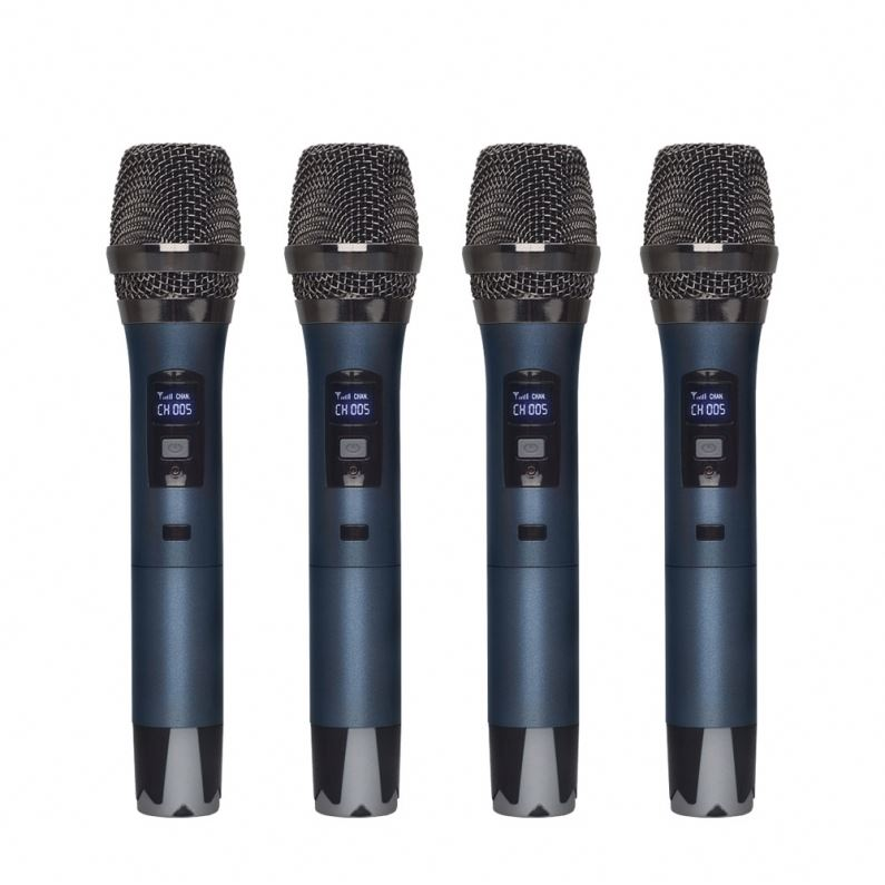 High Quality Professional Handheld UHF 4 channels Wireless Microphone for Karaoke System