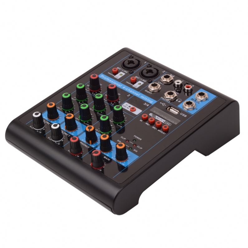 4 channel Interface audio mixer/Professional sound audio mixer