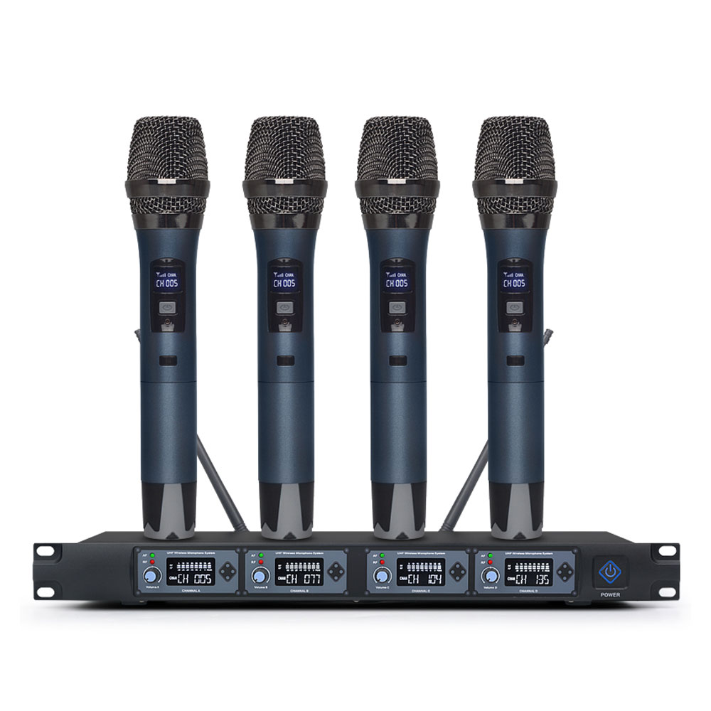 TIWA 4 channel UHF wireless microphone with four handhelds/headsets