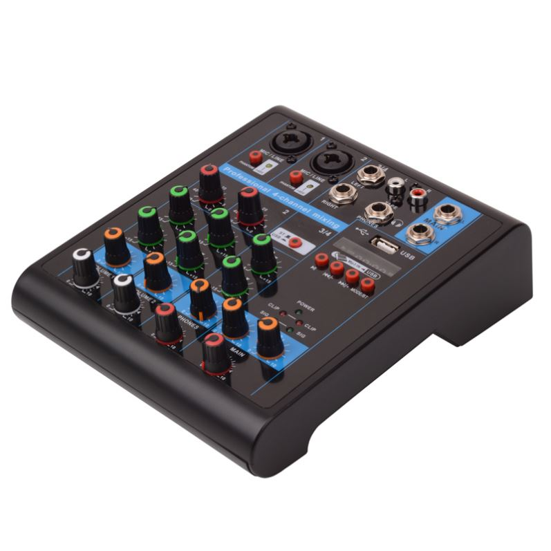 4 Channel Professional Music Stereo DJ Mixer Audio