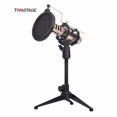 Foldable Desktop Microphone Tripod Stand with Pop filter